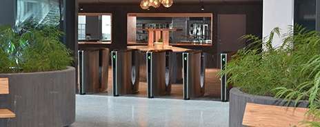 Optical turnstile array in corporate building