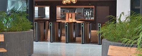 Optical turnstile array in corporate building