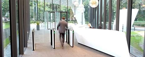 Optical turnstiles in lobby