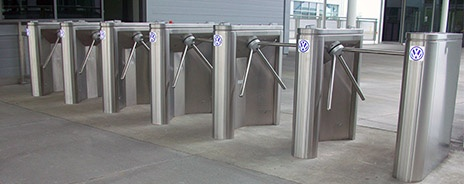 Tripod turnstiles at manufacutring plant